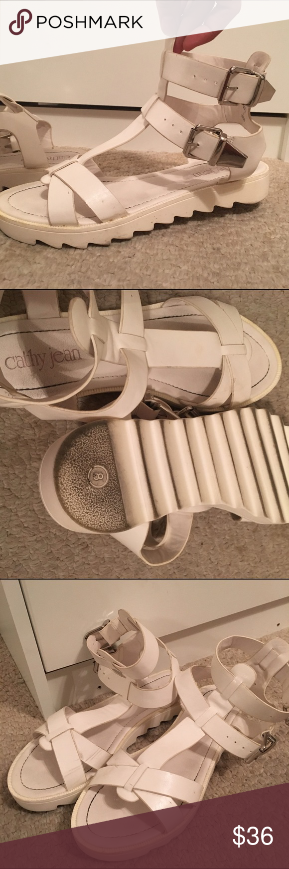 Cathy Jean Sandals White platform sandals from Cathy Jean. I will try to clean them as best as possible before being sent :) Women's size 8. The platform is barely an inch. Let me know if you have any questions! Cathy Jean Shoes Sandals