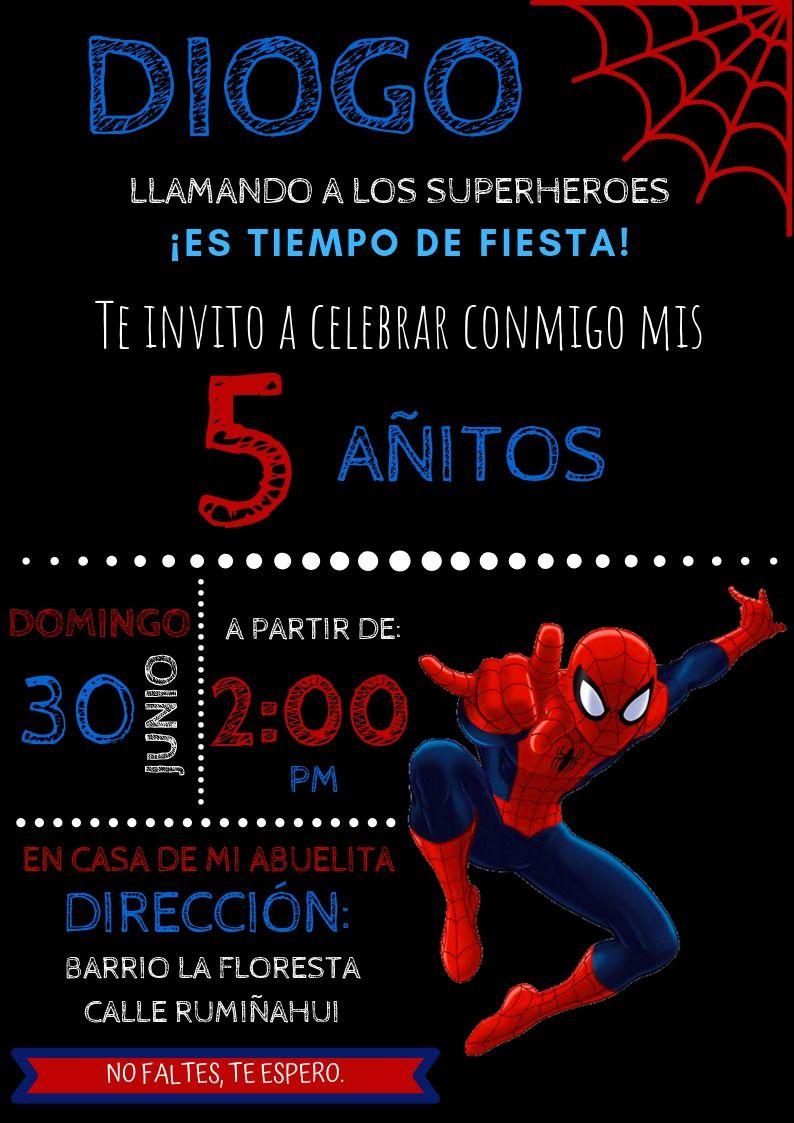 Invitación Spiderman Invitacion De Spiderman Invitaciones