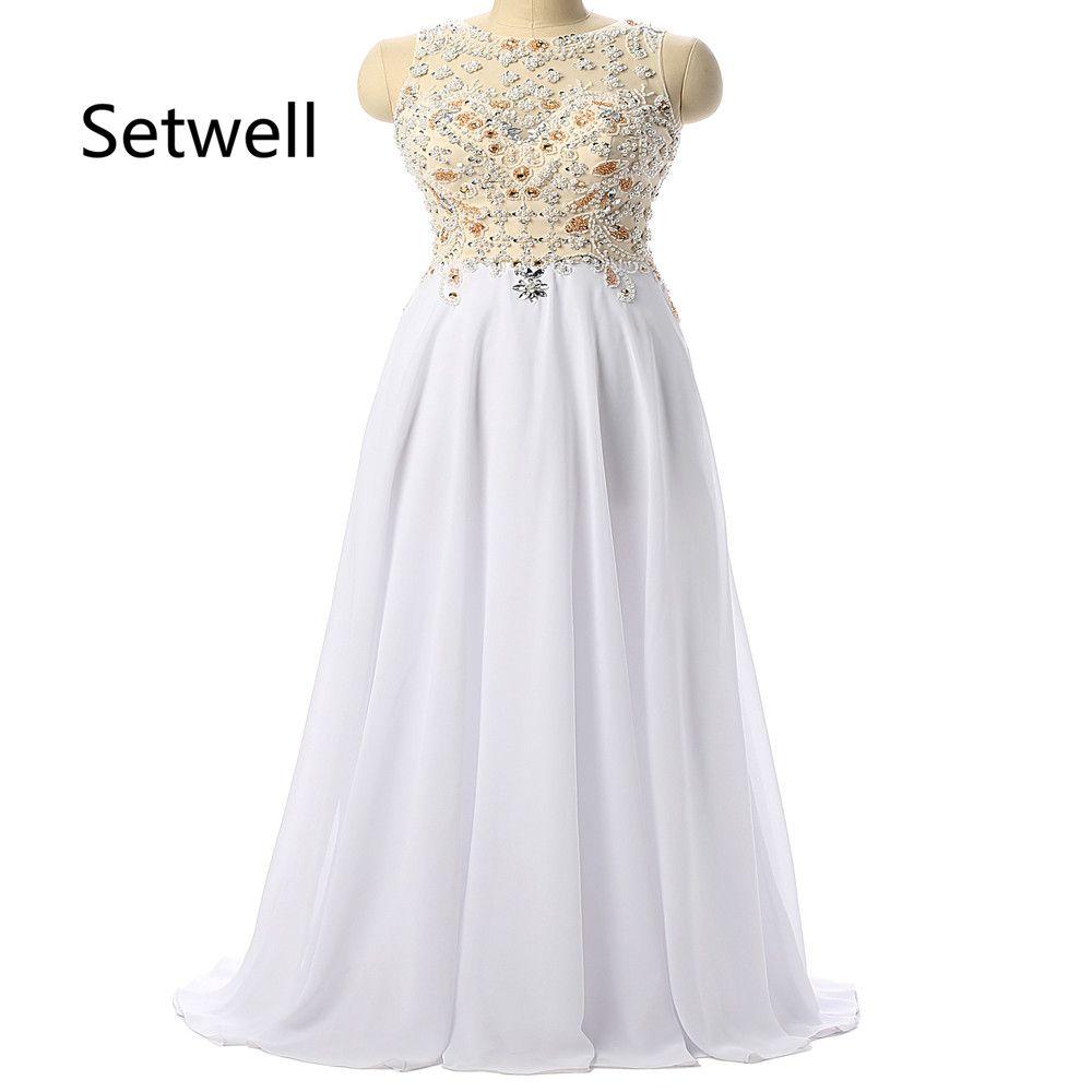 Click to buy ucuc setwell elegant white chiffon evening dresses o