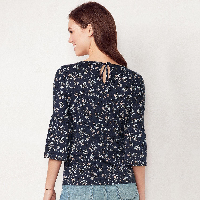 220663669533be Women s LC Lauren Conrad Printed Bell Sleeve Top  Lauren
