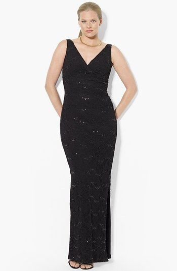 Lauren Ralph Lauren Sequin Lace Column Gown Plus Size Available At