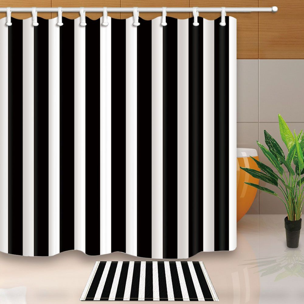 Modern Black White Stripes Bathroom Waterproof Fabric Shower Curtain Bath Mat Ebay Home Garden Fabric Shower Curtains Curtains Boho Shower Curtain