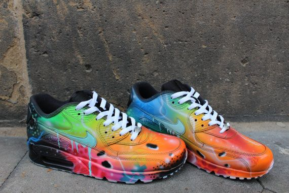 new concept fa561 2dd59 Nike Air Max 90 Blue Galaxy Style Painted by DacCrewAirbrush