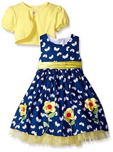 21ec21c479a7 Nannette Little Girls Dress with Cardigan 3D Flower Trim