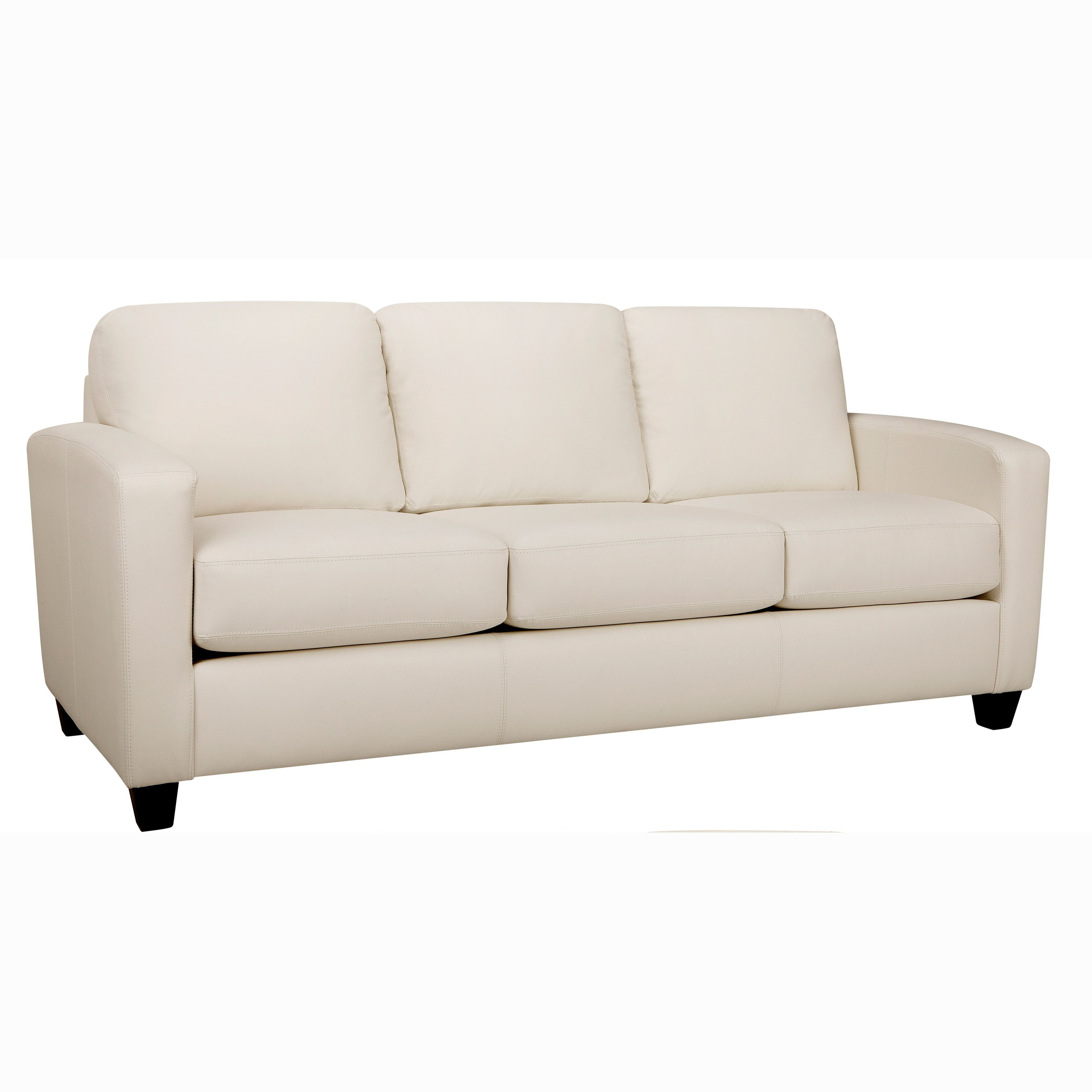 Bryce White Italian Top Grain Leather Sofa Ivory Leather Sofa