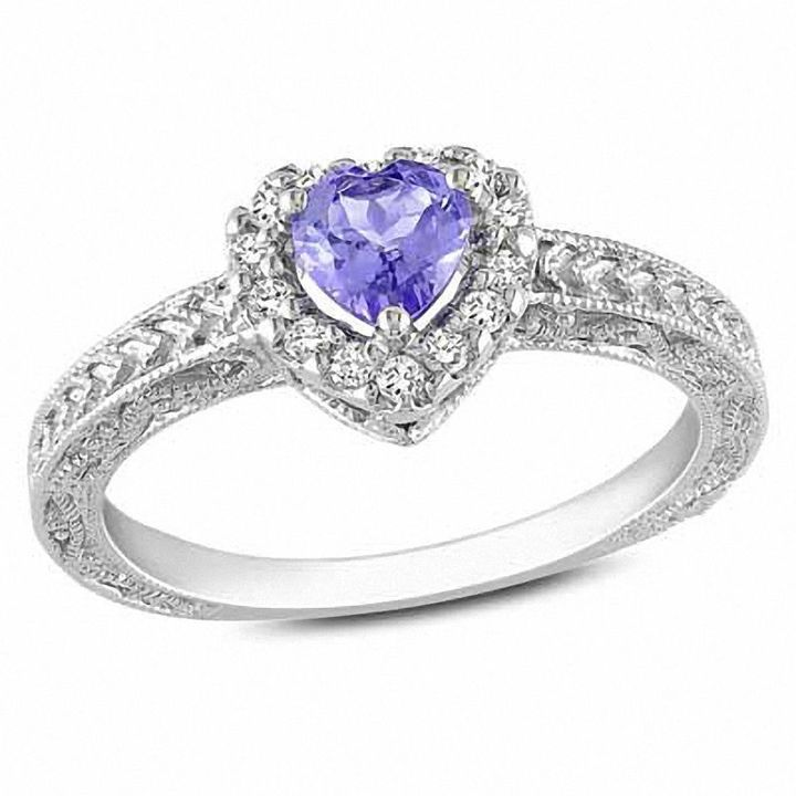 Zales 5.0mm Heart-Shaped Tanzanite and Diamond Accent Ring in Sterling Silver JRftUyVje