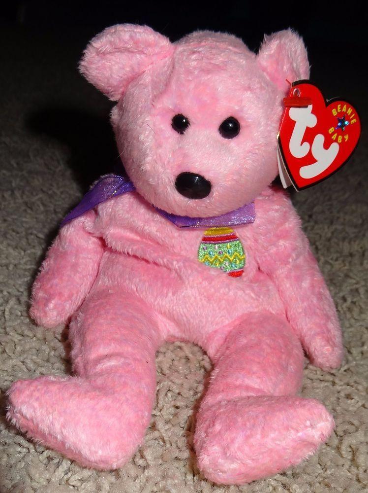 f0b49c2c388 TY Beanie Baby Eggs Pink Bear Yellow Easter Egg Purple Ribbon 2000 EUC TH   Ty