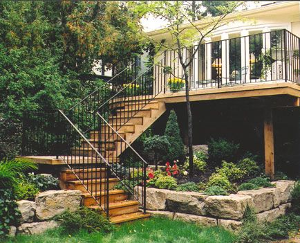 Best Elevated Second Story Deck With Wide Turning Staircase 400 x 300