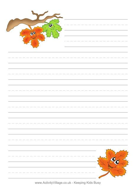 autumn leaves writing paper