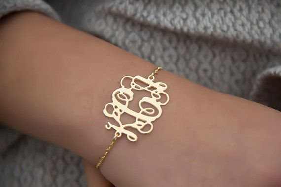 Monogram Bracelet Custom Name Nameplate