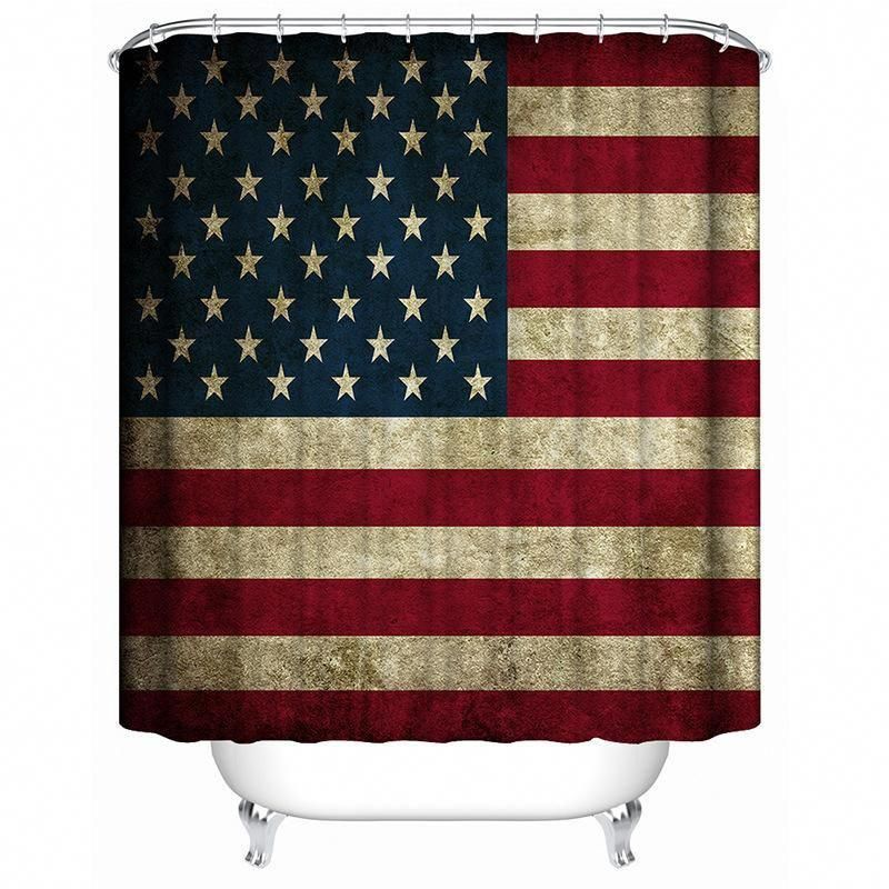 Vintage American Flag Print Shower Curtain For Bathroom Tychome