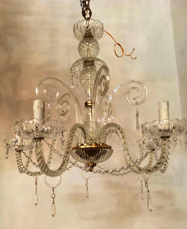 Chandelier Lighting Crystal Murano Vintage Wiring Comp Usa Free