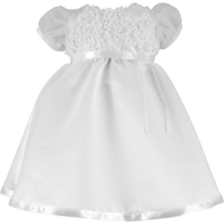 Christening Baptism Newborn Baby Girl Special Occasion Satin Dress With Floral Bodice And Puffed Sleeves