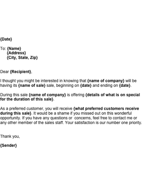 Send this letter to a preferred customer letting them know about a new upcoming sale Free to