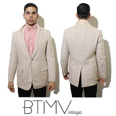 80s MEN'S summer CRICKETEER suit jacket LINEN tan neutral light ...