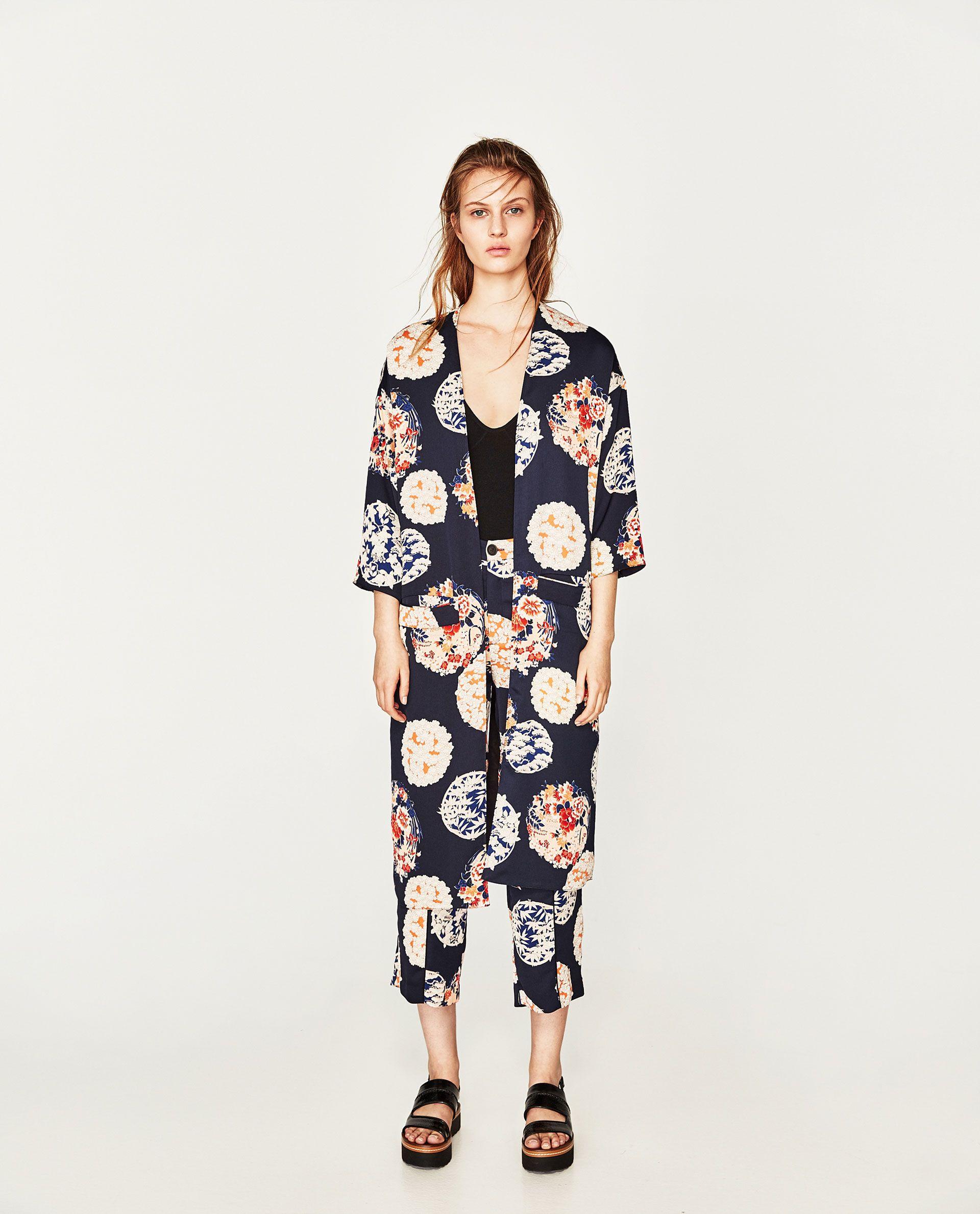 zara - woman - printed kimono jacket | zara damen, modestil