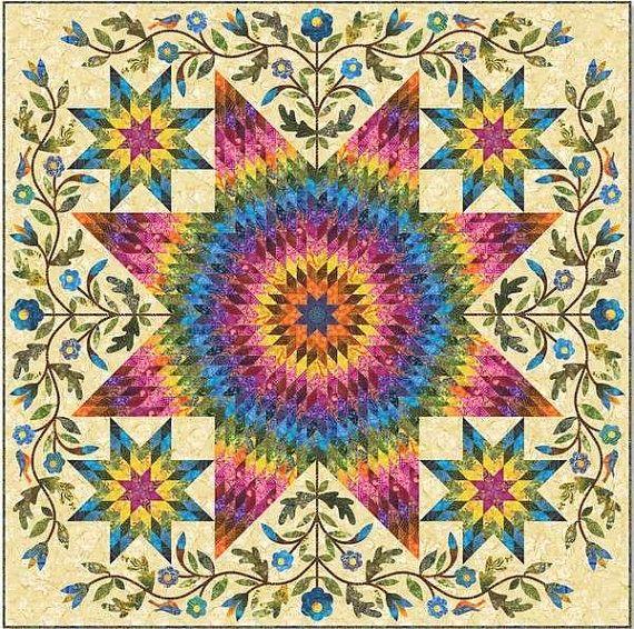 Estrella arco iris tejido patrón por Edyta Sitar de edredones de la cesta de lavadero, (batiks, arco iris, apliques, piezas)