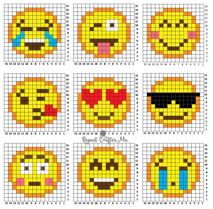 Crochet Emoji C2C Graphgan | Schematy haft krzyżykowy, Wzory haft ...