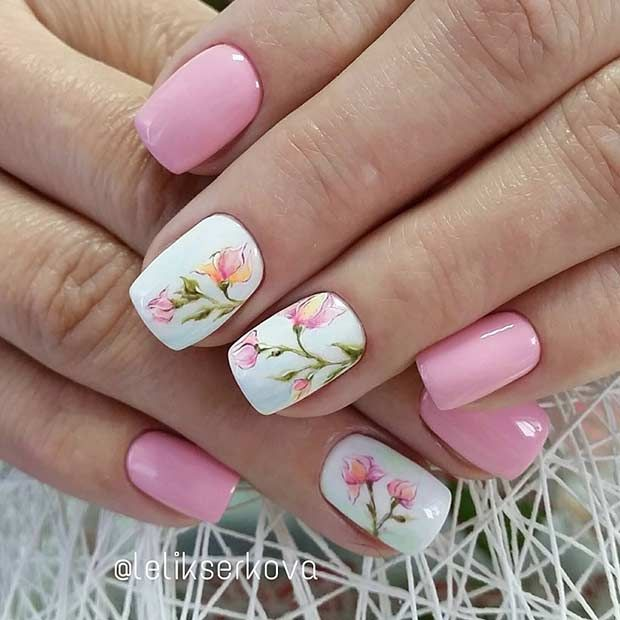 Pretty Light Pink Flower Nail Design for Spring - 21 Gorgeous Floral Nail Designs For Spring Pinterest Flower Nail