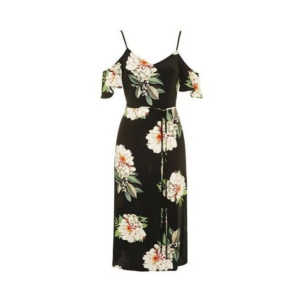 TopShop Floral Cold Shoulder Dress ($80) ❤ liked on Polyvore featuring dresses, black, midi dress, mid calf dresses, cold shoulder dress, floral tea dress and rayon dress