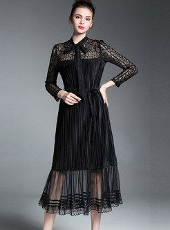 d21474c97424c Black Lace Hollow Out Embroidered Long Sleeve Skater Dress in 2019 ...