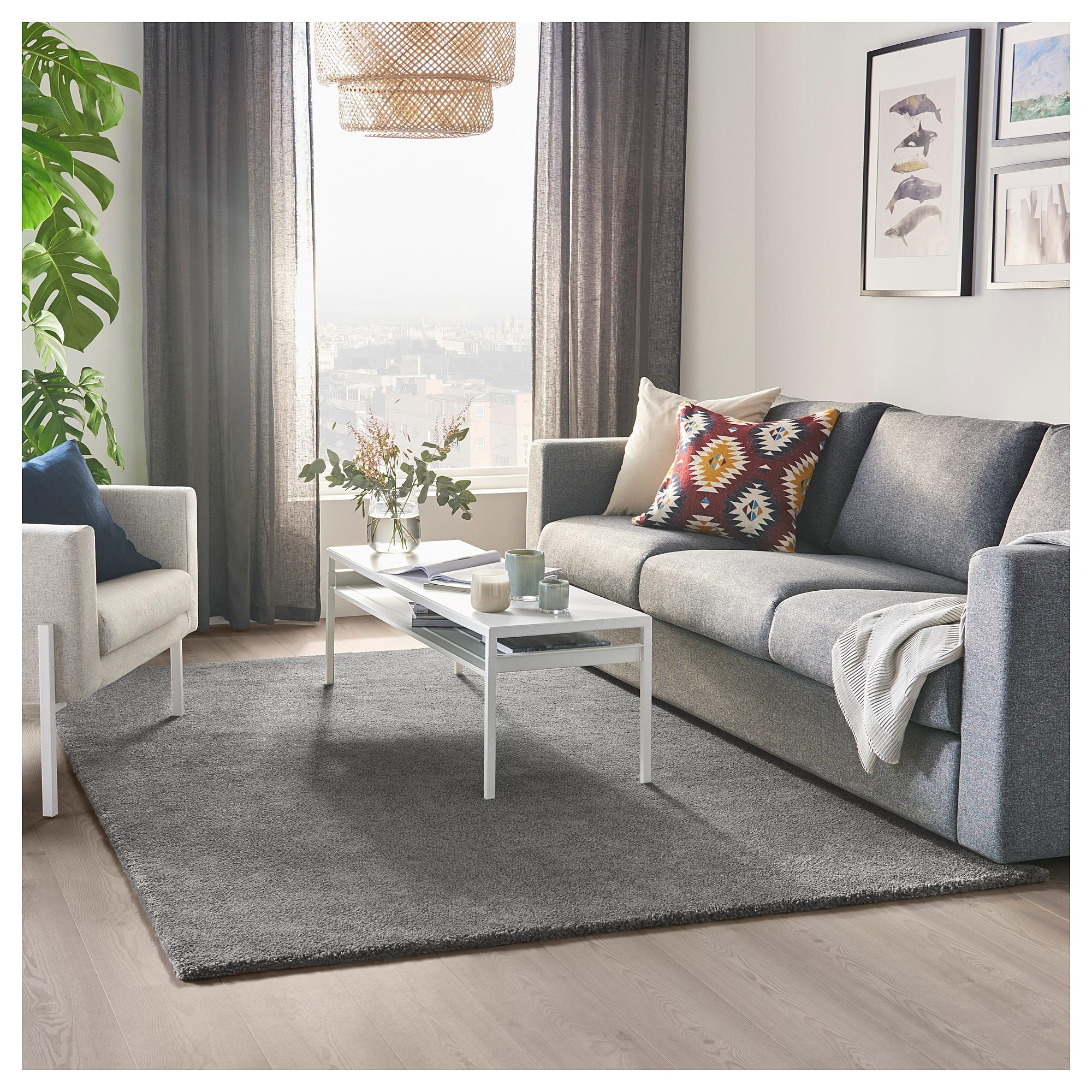 STOENSE medium grey, Rug, low pile, 10x10 cm - IKEA  Rugs in