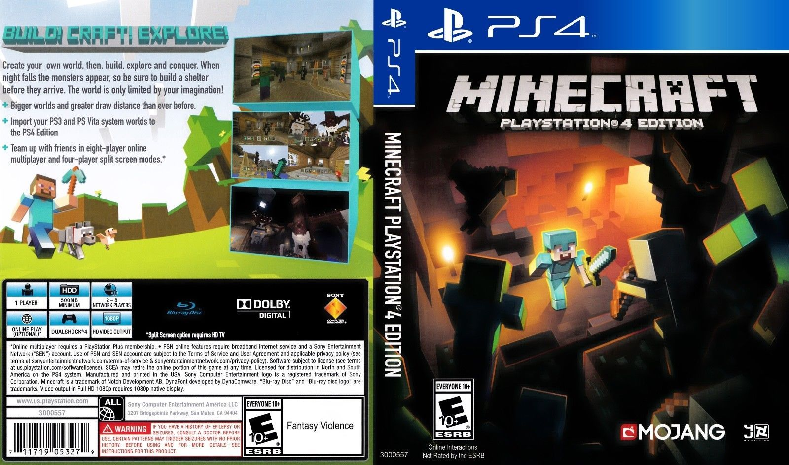 Minecraft Playstation 4 Ps4 Replacement Case Playstation 4