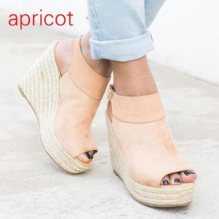 cf71910130325 Women Peep Toe Adjustable Buckle Strap Espadrille Wedges Sandals -  gifthershoes