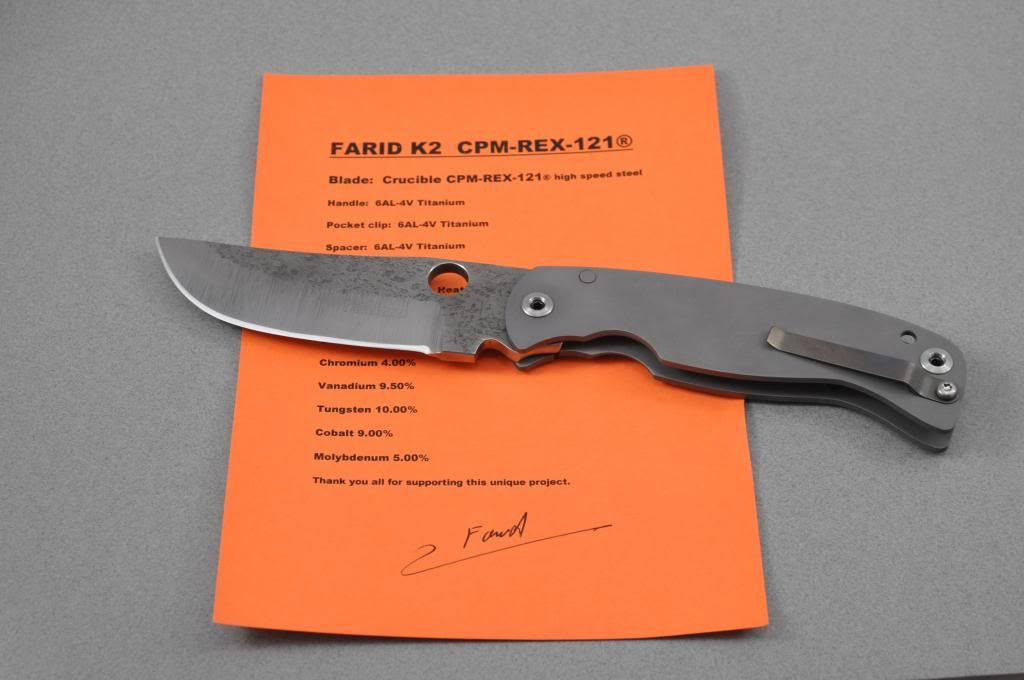 Photos Farid K2 Framelock in CPM Rex 121 (left friendly)