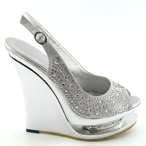 Wedding Silver Heels: Ladies Silver Diamante Satin Womens Wedge Heel Bridal