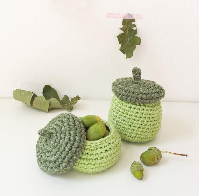 Photo of Crocheted acorn baskets for small autumn treasures