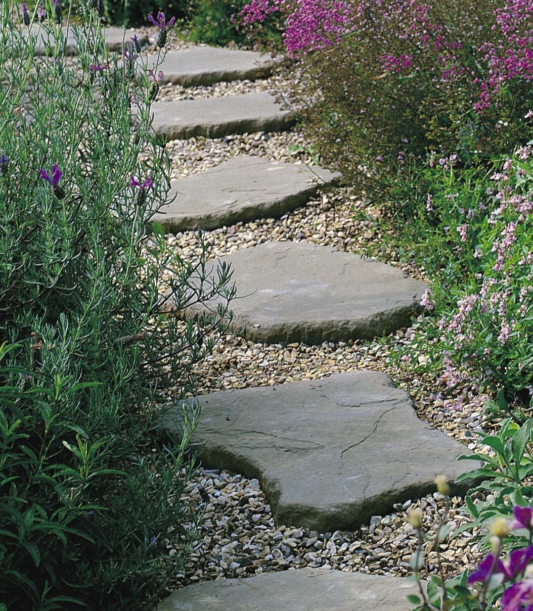 Create stepping stone paths throughout the garden ...