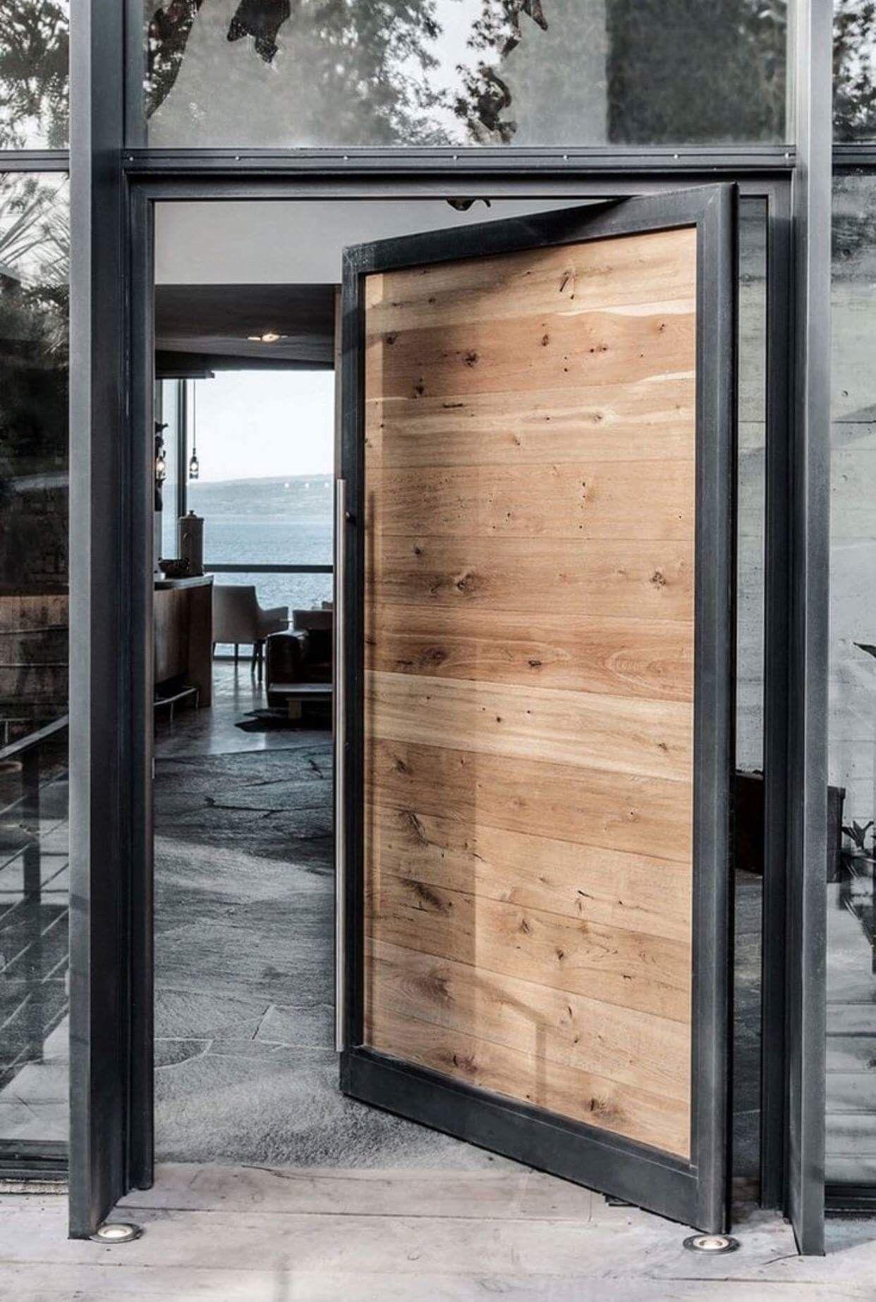 Aluminum frame wood door