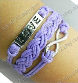 Bracelet --- vrai bracelet amour, antiquité Bracelet LOVE d'argent, bracelet illimité, violet bracelet tissé par case2012