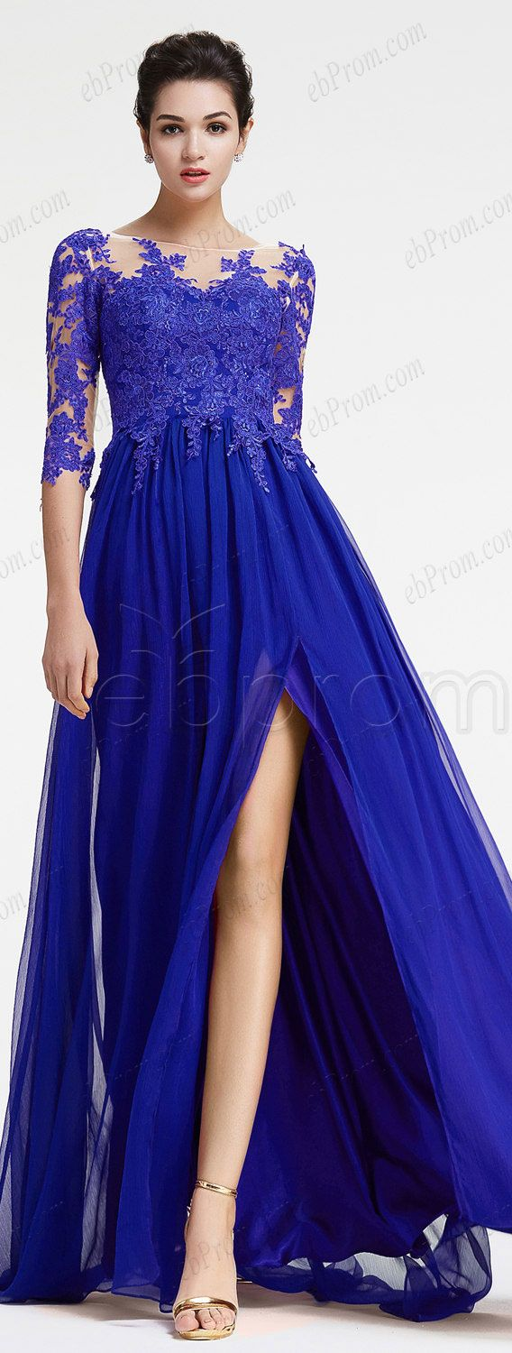 Royal blue long sleeve evening dress with slit plus size formal