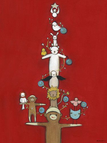 Sock Monkey Holiday Tree Canvas Wall Art - Wall Sticker Outlet ...