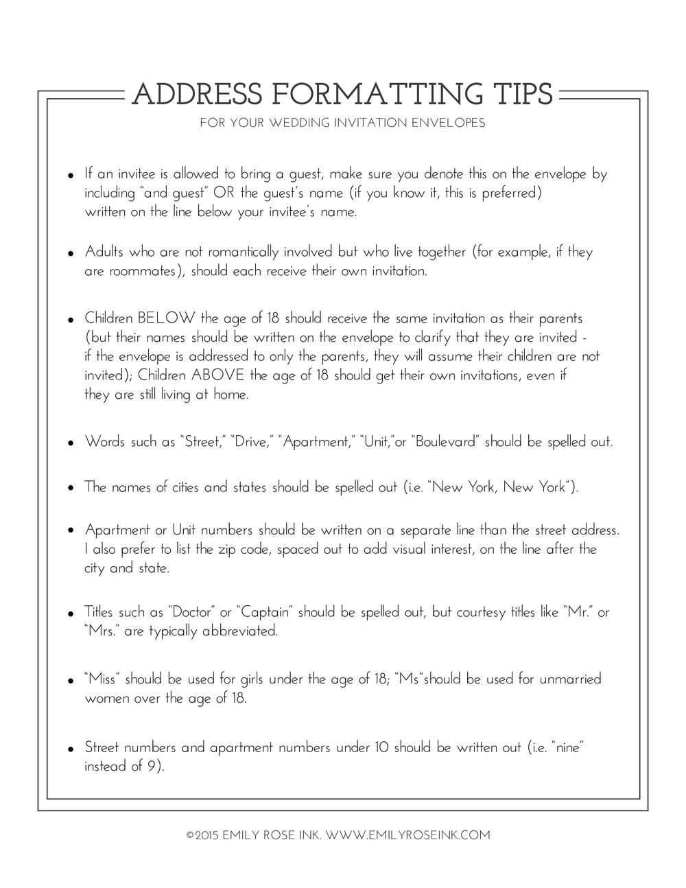 Envelope Addressing Etiquette | Envelope printing, Guest list and ...