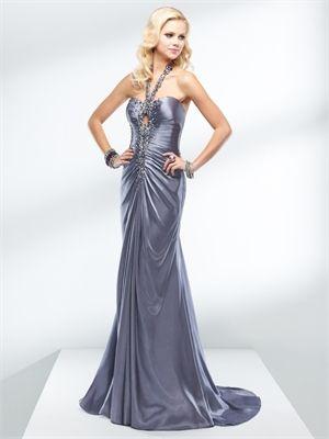 Beautiful Sheath Hater beaded silver satin prom dress PD10337
