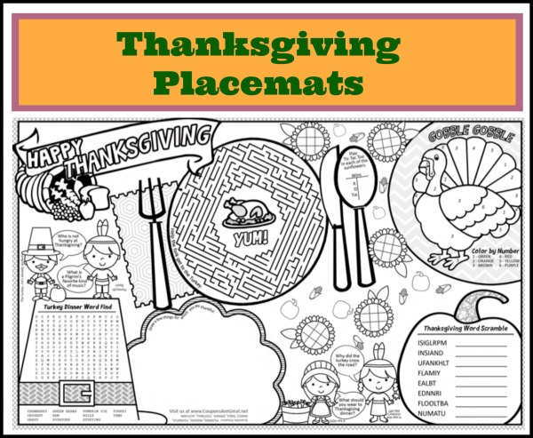 Printable Thanksgiving Placemats for Kids