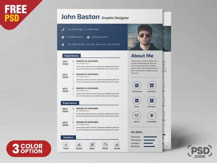 Designer Resume PSD Template PSD Zone Resume design