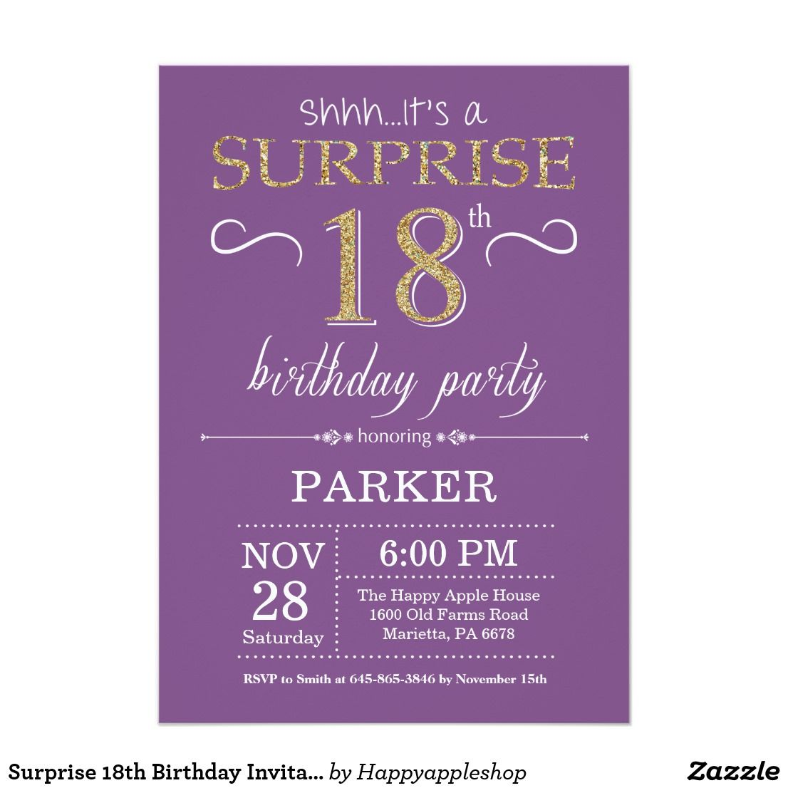 Surprise 18th Birthday Invitation Purple And Gold