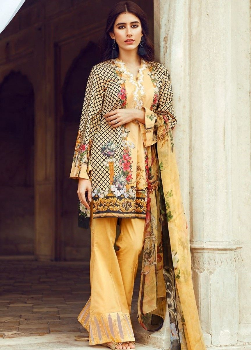 3a309564b3 Cross Stitch Yellow Floral printed Eid Dress | Cross Stitch Eid ...