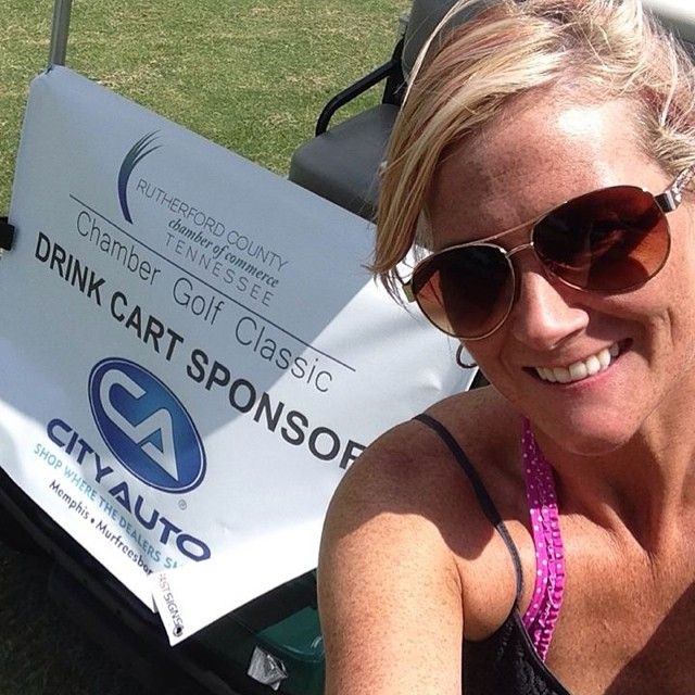 City Auto Murfreesboro's Candi Allen enjoyed a beautiful day on the #golf course June 19, 2014 in support of the #RutherfordCounty Chamber of Commerce
