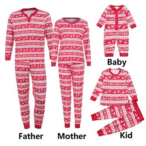 Festive red and white Christmas pajamas for the entire family The