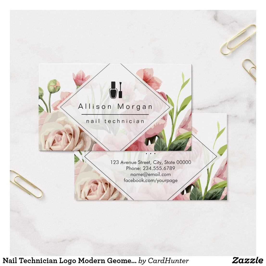Nail Technician Logo Modern Geometric Chic Floral Business