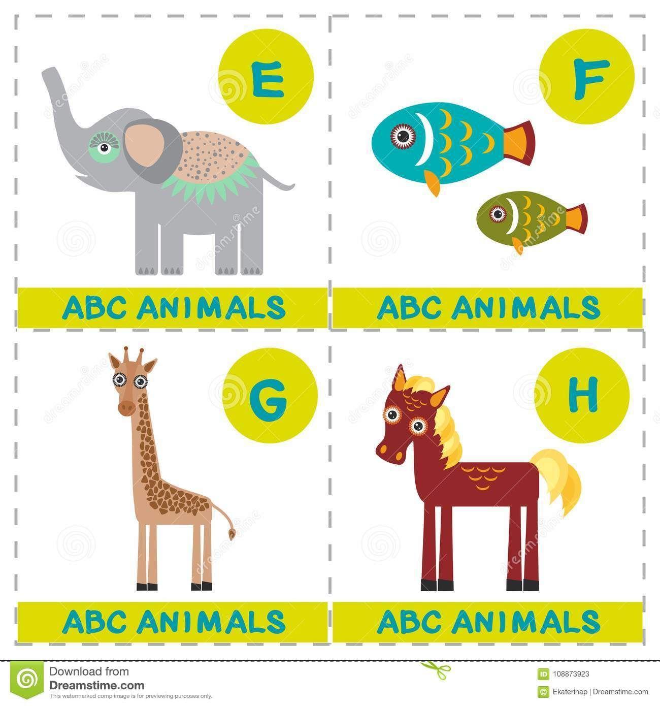 ABC Alphabet For Kids. Set Of Funny Elephant Fish Giraffe