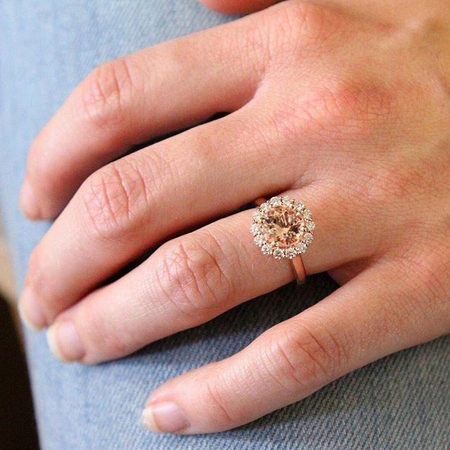 Morganite Lotus Flower Ring Colored Gemstone Ring Pink