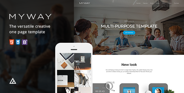 Myway - Onepage Bootstrap Parallax Retina Template . Myway has ...