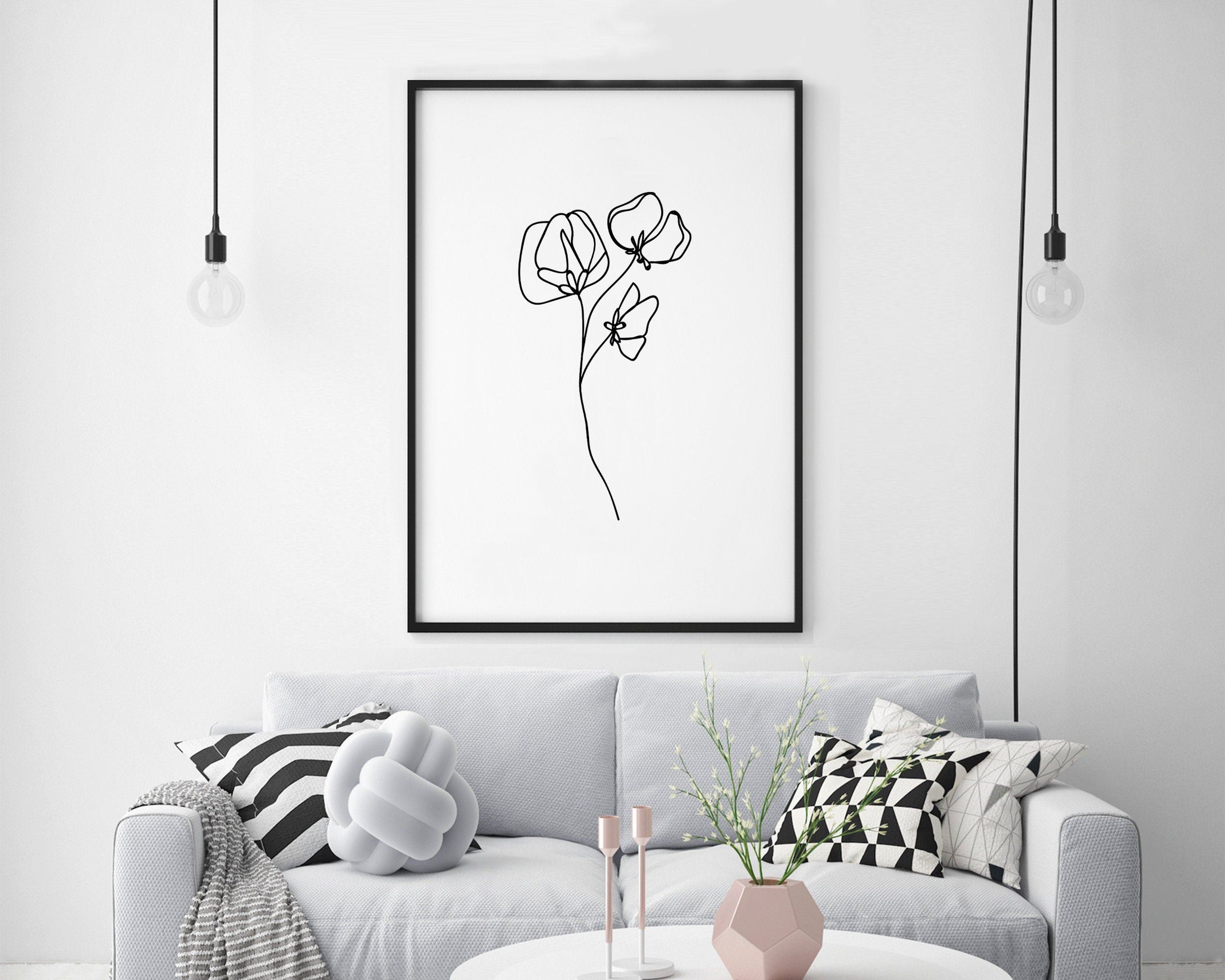 Poppies Wall Art, Abstract Flower Print, Botanical Nordic Sketch, Minimalist Plant Art, Single Line Drawing, Modern Art Minimal Nature Print -   14 minimalist planting Art ideas