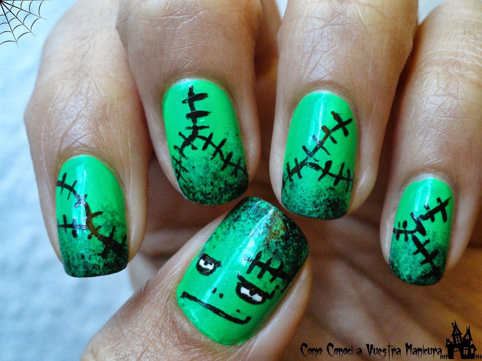 Frankenstein Nail Art #halloween | Halloween | Pinterest | Manicuras ...
